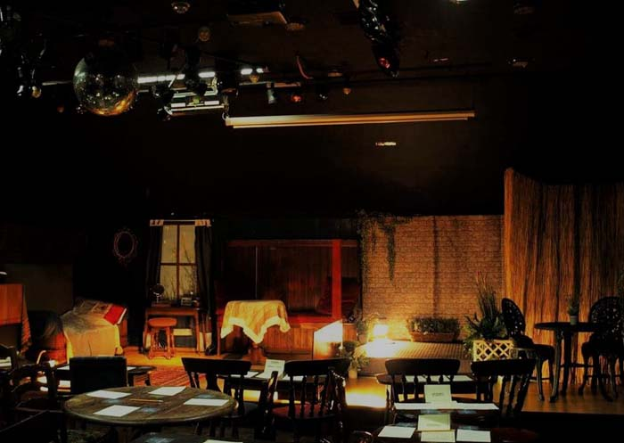 Reality Theatre's stage at their regular performance home, The Pen & Wig in Newport