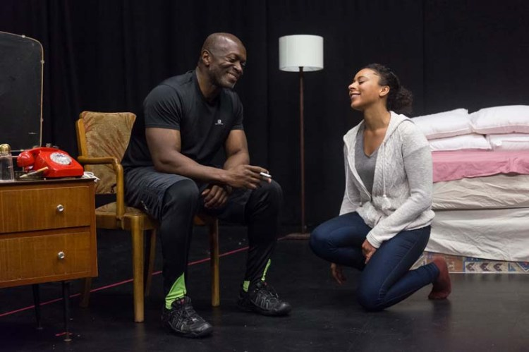 Rebecca Carrie and Mensah Bediako in rehearsals for Theatre Fio's The Mountaintop, which tours South Wales during October. Photo: Kieran Cudlip
