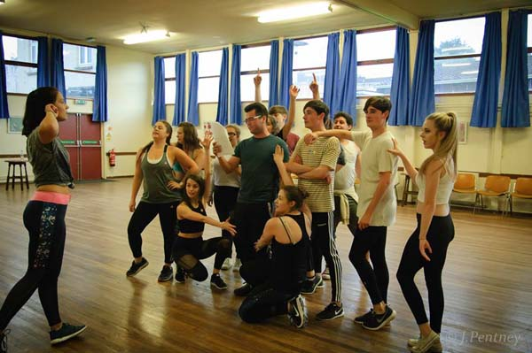 Glass Ceiling Theatre going through their steps for the forthcoming production of The Wedding Singer.