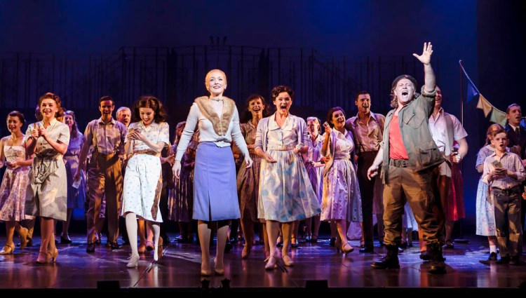 Lucy O'Byrne (Eva Perón), Glenn Carter (Che) and the cast of Evita UK Tour which plays at Wales Millennium Centre until September 8, 2018 Photographs (c) Pamela Raith