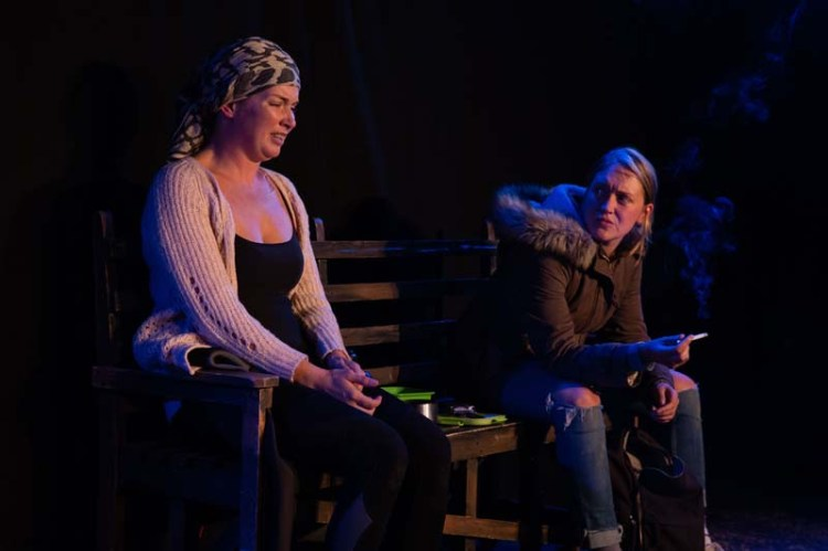 Ciara Pouncett as Ann and Jennifer Aries as Jo in Claire Erasmus play,  Flotsam  at The Kings Head Theatre, London Photograph by Stephanie Claire.