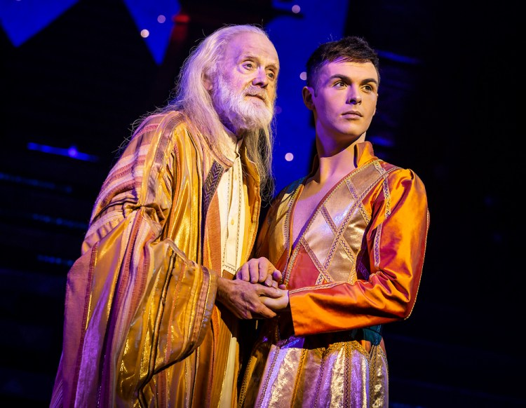 Henry Metcalfe (Jacob) & Jaymi Hensley (Joseph) in the Joseph & The Amazing Technicolor Dreamcoat  UK Tour  Photo by Pamela Raith Photography