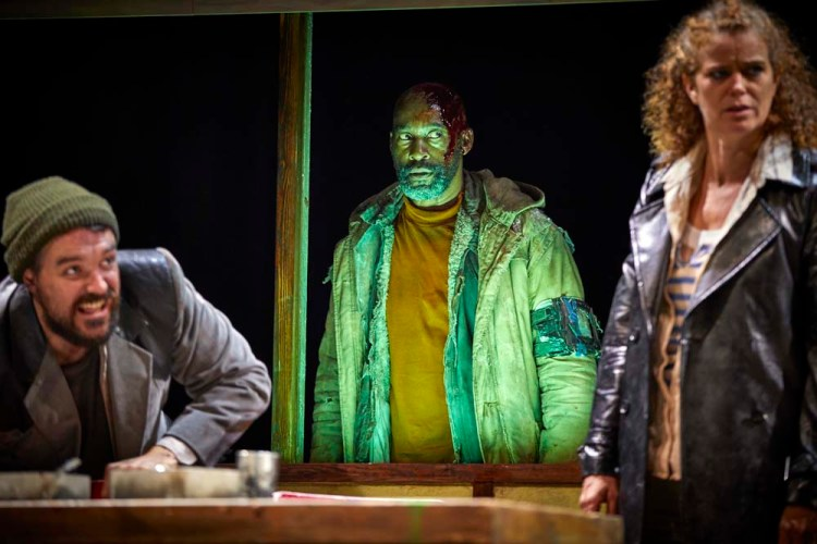 James Robinson (Lennox), Patrick Robinson (Banquo) and Rachel Sanders (Ross) in the National Theatre's touring production of Macbeth which plays Wales Millennium Centre from 19 – 23 March 2019.Photos by BrinkhoffMogenburg