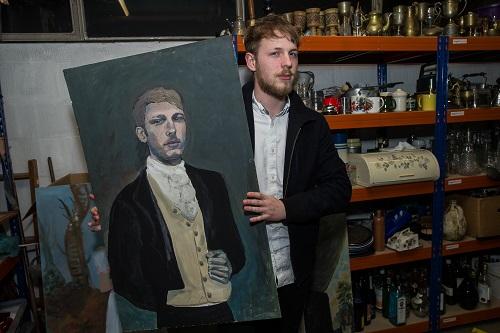 Actor Tim Hawken with his Wickham portrait Photo by Paul Johnson
