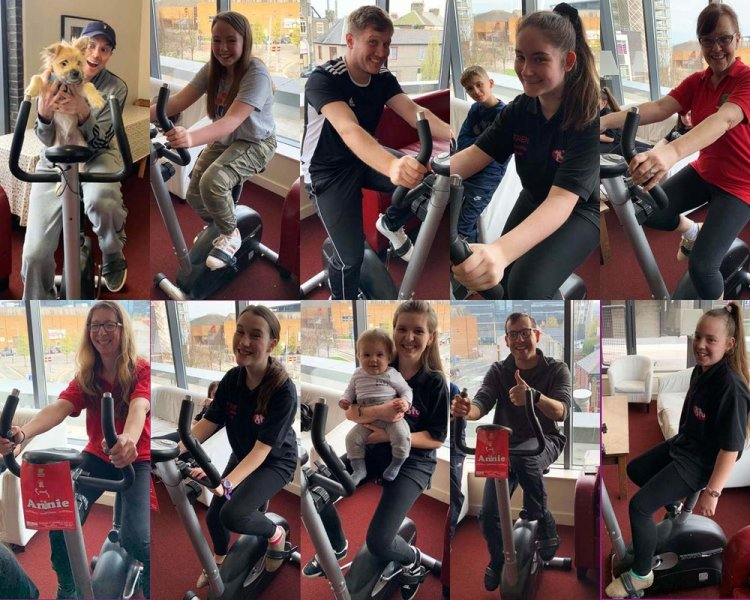 Some of the members of Centrestage Cymru and Sharon Higgins Academy of Dance that took part in the Centrestage Cymru exercise cycle fundraiser on Saturday April 6th, 2019. Photos by Jordan Archer and Sharon Higgins. Main group photo by Rachel Howells.