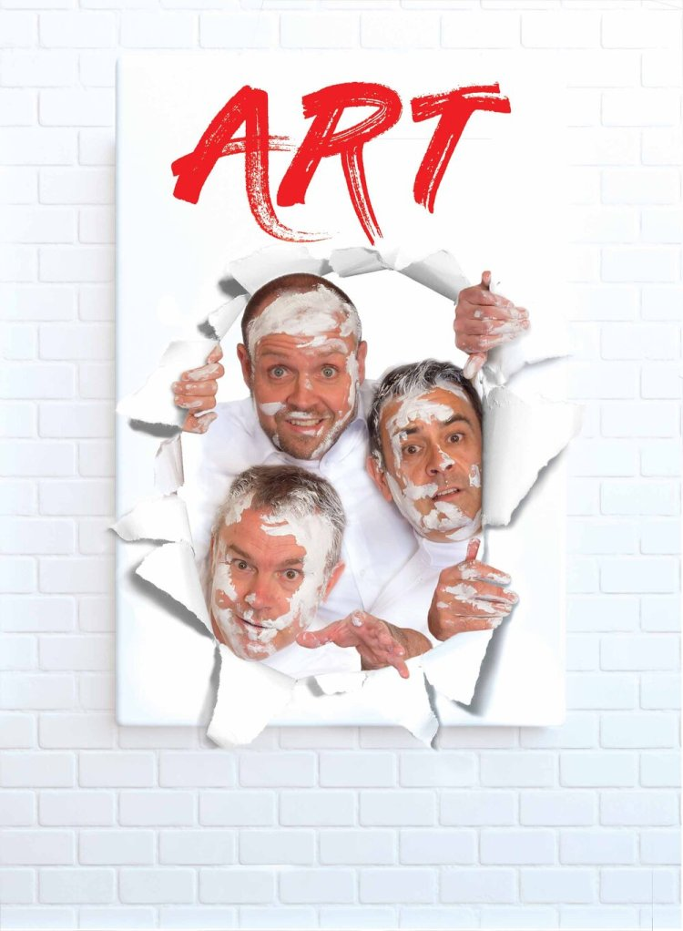 Keiron Self as Yvan, Gareth John Bale as Serge and Richard Tunley as Marc in Black RAT's touring production of ART .