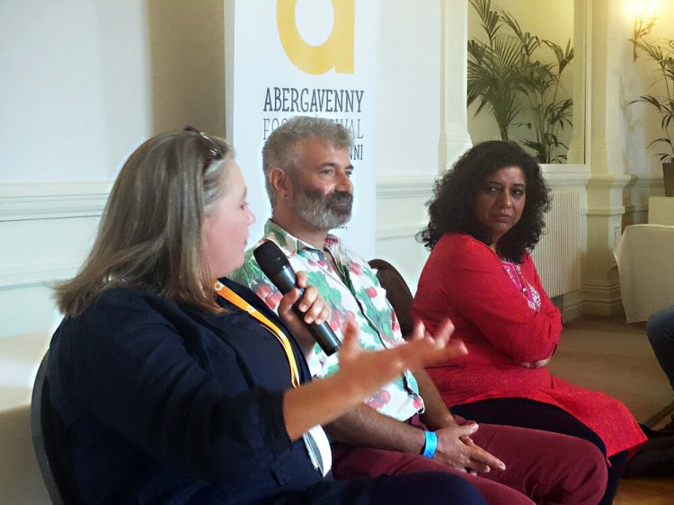 Abergavenny Food festival CEO Aine Morris at the press launch with guest speakers, Sandor Katz and Asma Khan. Photo: Entertainment South Wales