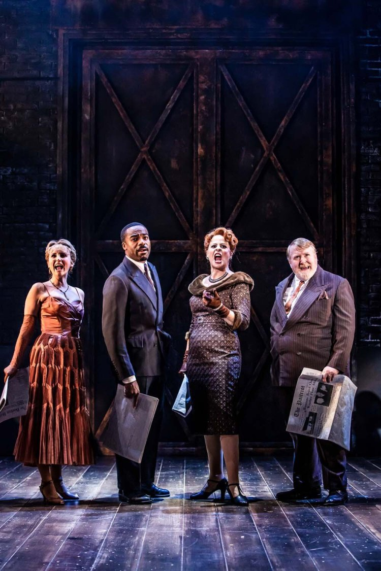 Carley Stenson as 'Georgia Hendricks', Ore Oduba as 'Aaron Fox', Rebecca Lock as 'Carmen Bernstein' and Martin Callaghan as 'Oscar Shapiro' in Curtains which runs at Cardiff's New Theatre from October 14 -19, 2019 - credit Richard Davenport