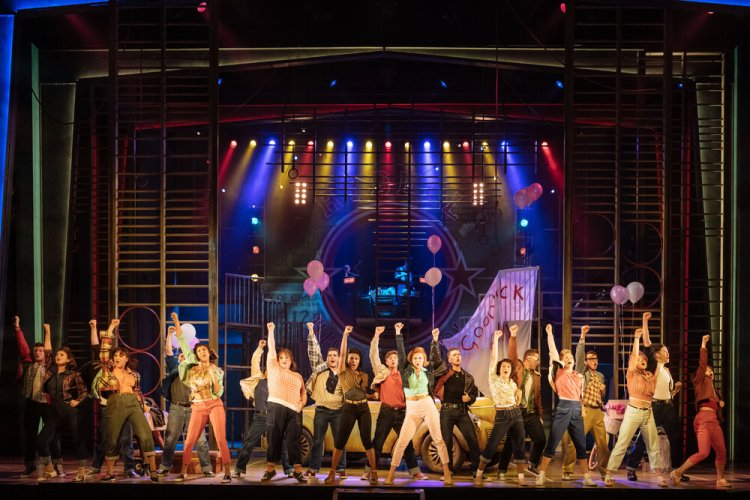 Ensemble cast in the UK and Ireland tour of GREASE, credit Manuel Harlan