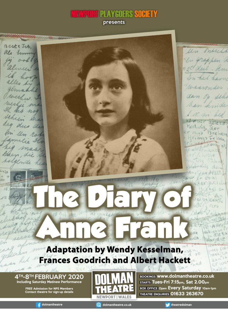 The Diary of  Anne Frank  will be presented by Newport Playgoers at Newport's Dolman Theatre from February 4-8, 2020