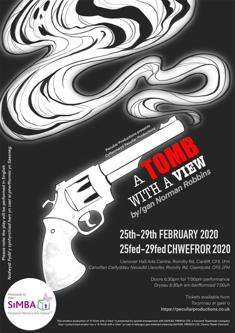 A Tomb With A View  will take place at Llanover Hall Arts Centre,  Cardiff CF5 1FH from Tuesday 25th February – Saturday 29th February 2020