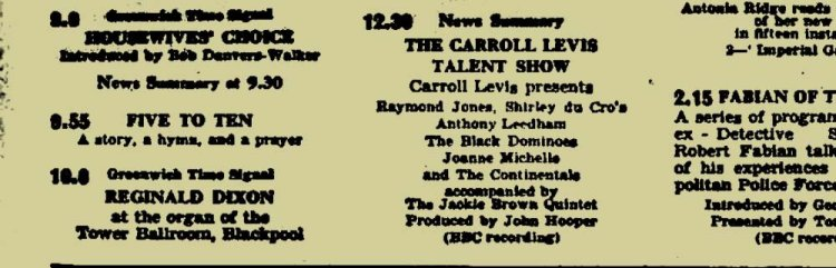 The Black Dominoes make their appearance on the Carroll Levis Talent Show on the BBC Light Programme in August, 1959 and gain a credit in the Radio Times! Photo:  BBC Genome