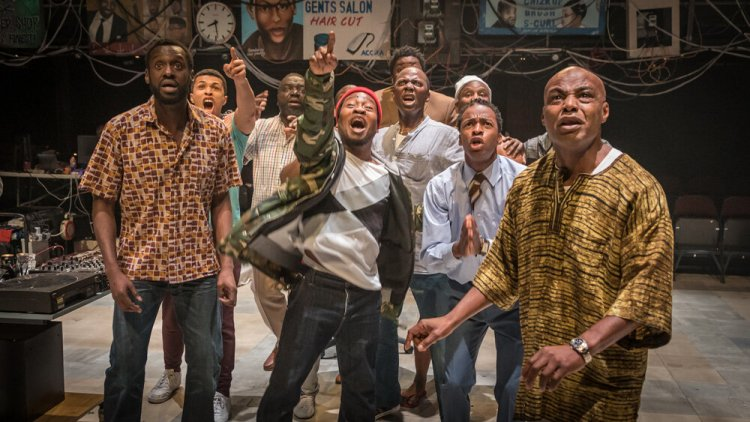 Barber Shop Chronicles at the National Theatre Photo by Marc Brenner