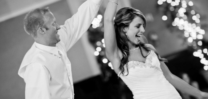 Couple dancing to wedding entertainment at their wedding reception
