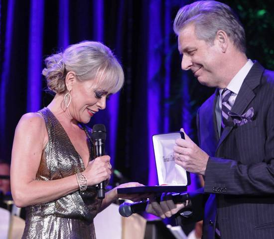 Tracie Bennett receiving Distinguished Artist Award from Michael Ritchie (CTG Artistic Director)