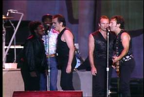 Left-to-right:  Tracy Chapman, Youssou N'Dour, Peter Gabriel, Sting, Bruce Springsteen