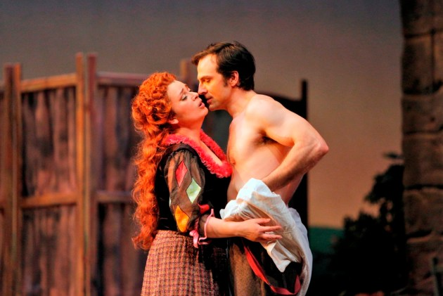 Soprano Adina Nitescu is Nedda and baritone David Adam Moore is Silvio in San Diego Opera's PAGLIACCI. Photo by Cory Weaver, copyright 2014.