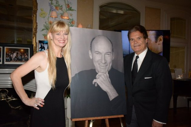 Edward Lozzi (PR Pro & Friend of Ed Lauter) & Widow, Mia Lauter -- with portrait of  Ed Lauter