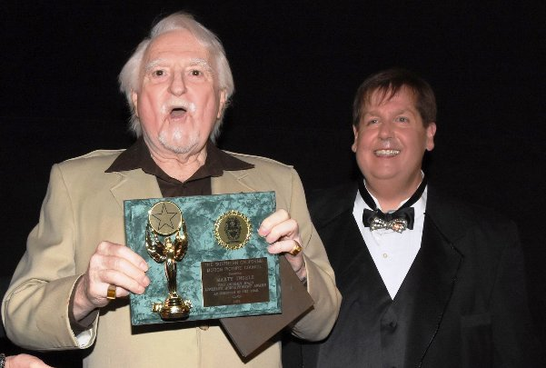 Marty Ingels receiving Halo Award with Producer, Tom Tangen [Mansion of Blood] ... (Above photo credits to Glen Lipton & Vince Gucci)