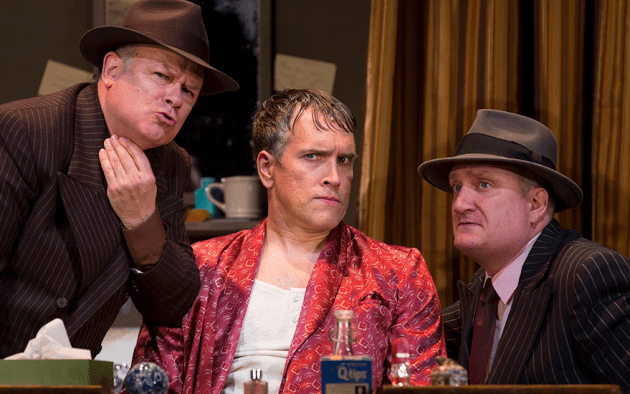 Preparing to brush up their Shakespeare, (from left) Joel Blum as First Man, Mike McGowan as Fred Graham, and Brendan Averett as Second Man. Photo by T Charles Erickson.
