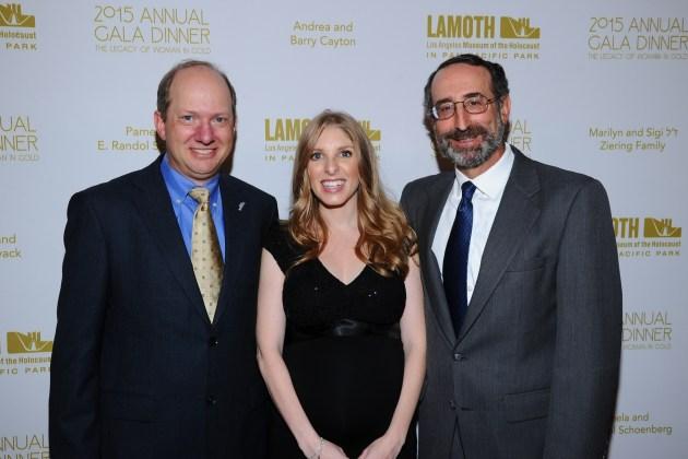 Honorees Randolph Schoenberg, Stacey JanksJasper, Richard Jones attend the LA Museum of the Holocaust 2015 Gala(Photo by VinceBucci)