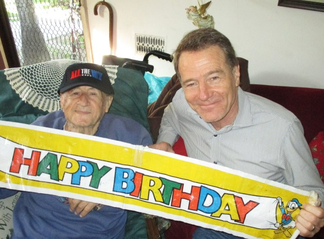 Frank Barron, 97, and Bryan Cranston (photo by Margie Barron)