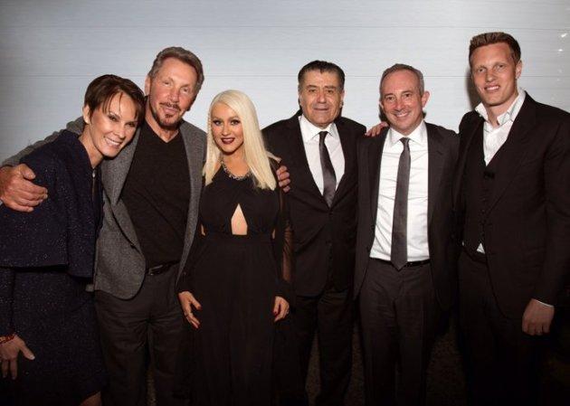 Larry Ellison - Saban Event: Cheryl Saban, Larry Ellison, Christina Aguilera, Haim Saban, David Agus, and David Ellison (Photo credit: Alex Berliner)
