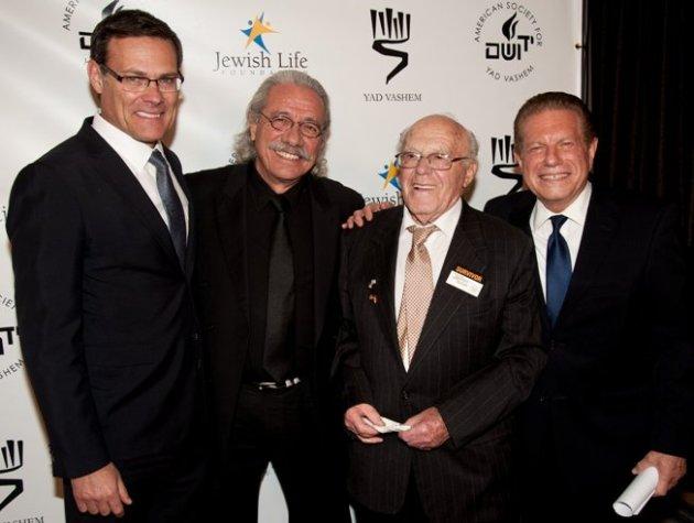 Consul General of Israel in L.A. David Siegel, Edward James Olmos, Holocaust survivor Max Stodel & emcee, Mike Burstyn (Photo Credit: Kyle Espeleta)