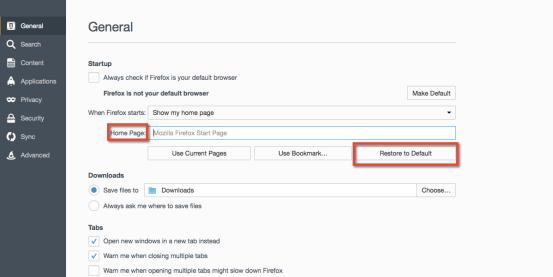 Mozilla restore default homepage