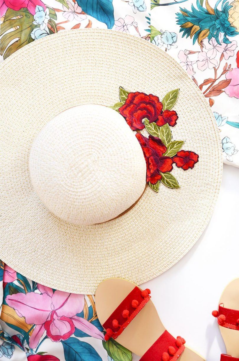 Transform your boring sunhat under 5 minutes by following this floral patch sunhat tutorial (video available)