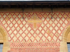 The Byzantine-style patterned brickwork of the Church of the Wisdom of God, Kingswood