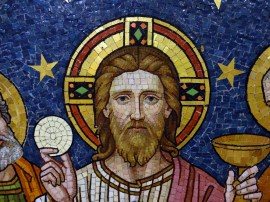 Head of Christ, from the Last Supper, showing Christ holding the bread and wine