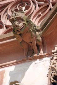 Pink sandstone grotesque figure at Strasbourg Cathedral