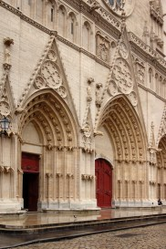 The entry porches in the facade of Lyon Cathedral