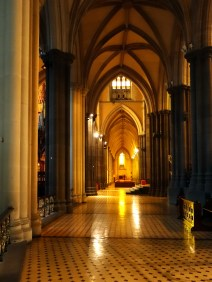 Looking west along the southern aisle, from the ambulatory of Melbourne cathedral
