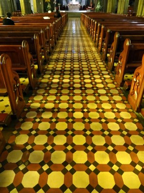 The floor is all ceramic tiles, not stone, and laid with this distinctive pattern.