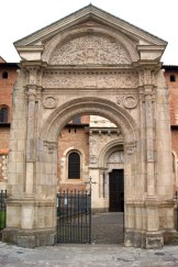 The entrance arch to the Basilica in Toulouse, France.