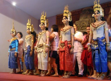 A contemporary Apsara Dancing group, with some tourists from their audience after their show