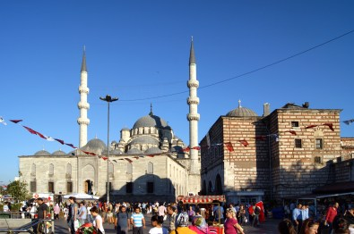 The pair of minarets outside the New Mosque, near the Galata Bridge in Istanbul