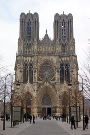The facade of the mighty Notre-Dame cathedral at Reims