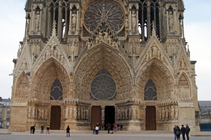The porticos at the main entrance to Reims Cathedral