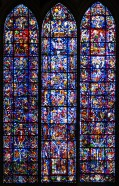 A closer view of the three lancet windows of Reims cathedral (I moved them a little closer together to show them all at once)