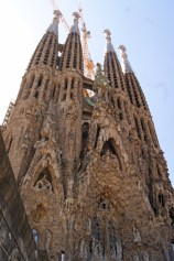 Four of the multiple spires of the Sagrada Familia Basilica in Barcelona, Spain