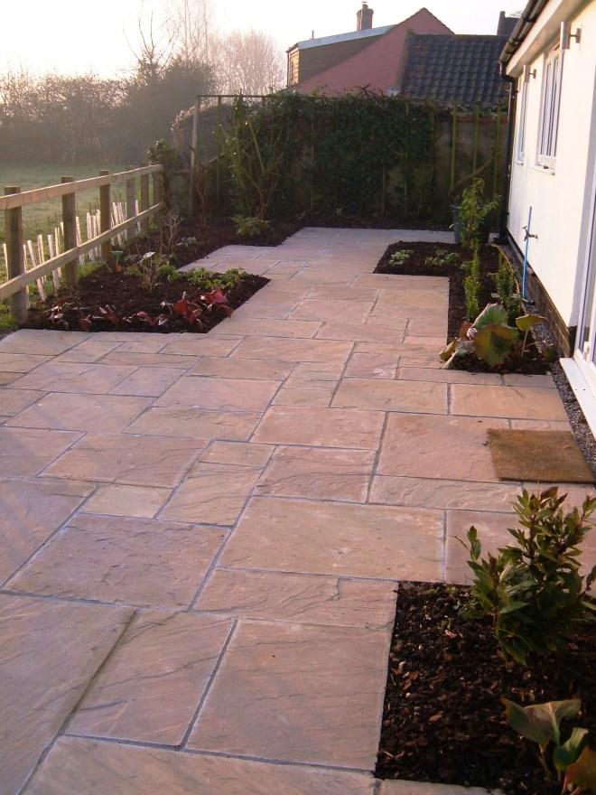 Hard landscaping on back terrace