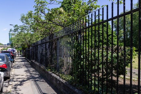 The railings of Sayes Court Park on Grove Street