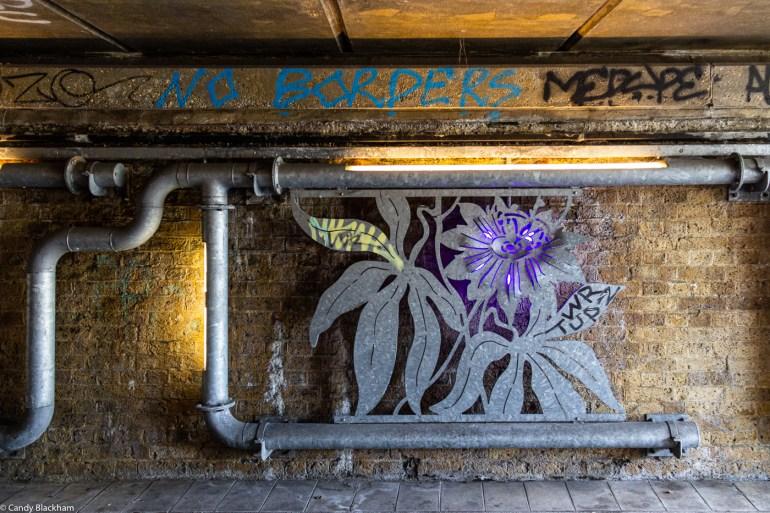 Heather Burrell's metalwork in the underpass