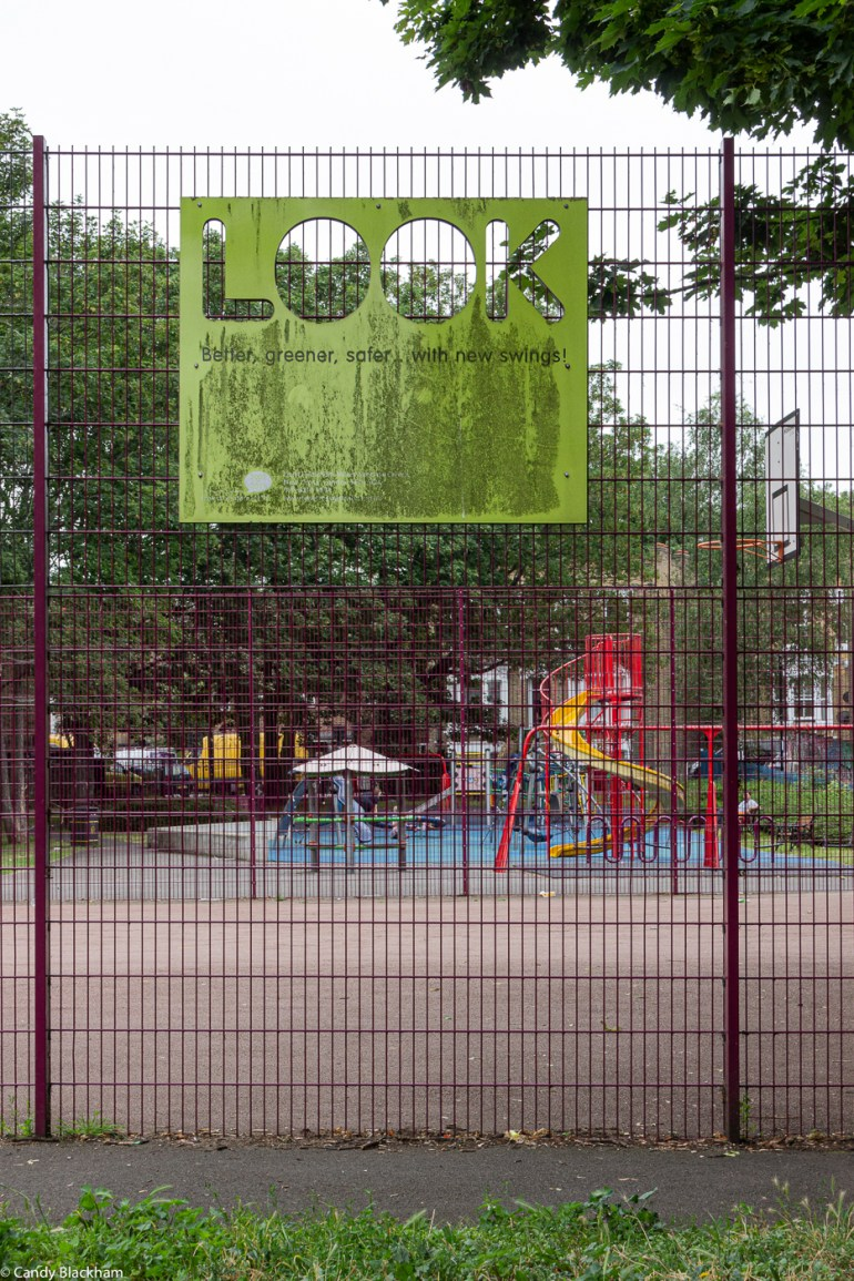 The children's play area in Eckington Gardens Park in New Cross