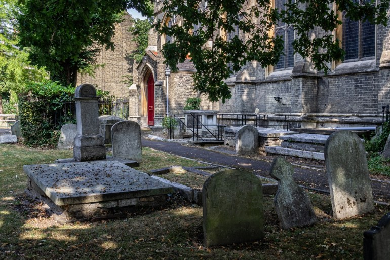 General view of the Churchyard, St Bartholomew's Church in Sydenham