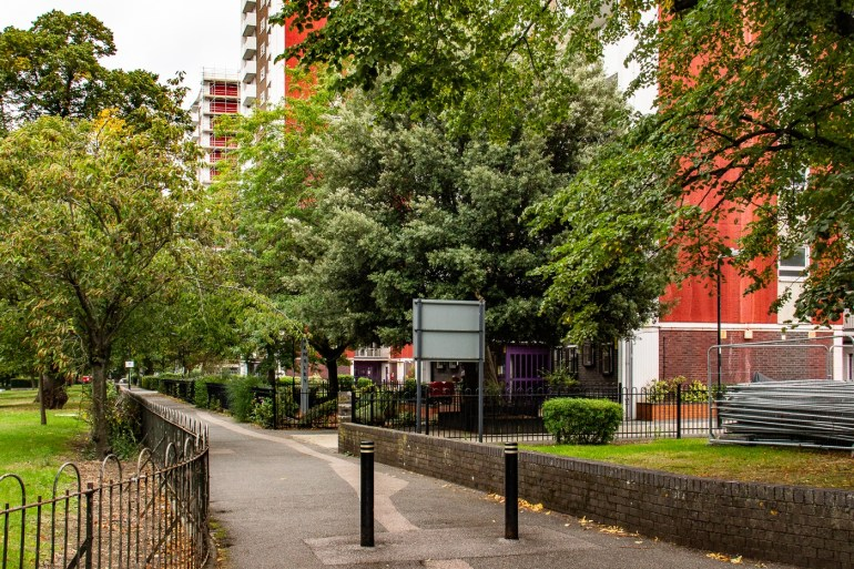 Tower blocks opposite Lewisham Memorial Park