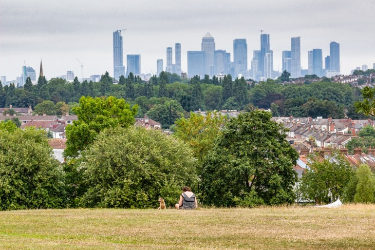 Canary Wharf from Blythe Hill Fields in SE London